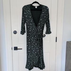 Dark green wrap dress